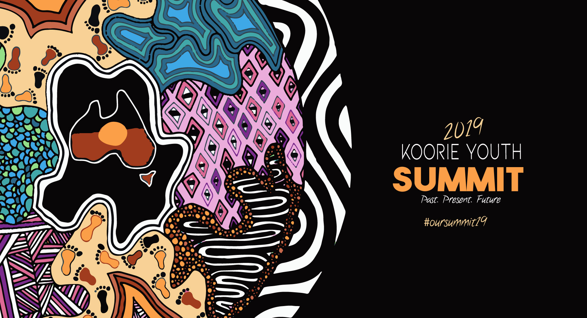 Summit Logo with orange, purple, black & white colours, with cross hatching, dot and diamond patterns meeting together to an Aboriginal flag within the map of Australia