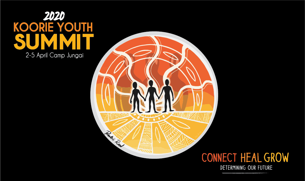 The 2020 Koorie Youth Summit logo. Three figures stand in the middle with orange and yellow surrounding them.