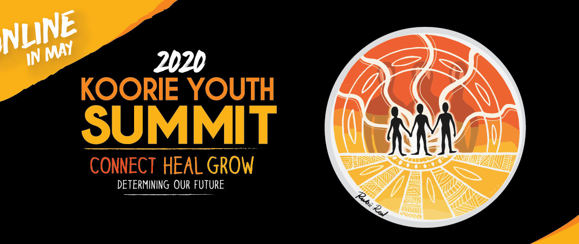 Drawing of three people inside an orange and yellow circle with circle patterns in white. It says 2020 Koorie Youth Summit.